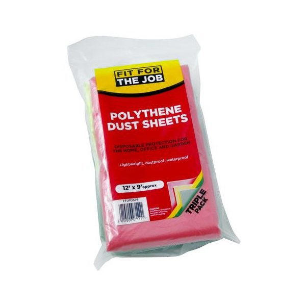 fit for the job polythene dust sheets triple pack size
